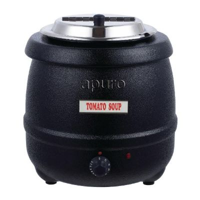 Apuro Black Soup Kettle ; Capacity: 10Ltr 10A Plug